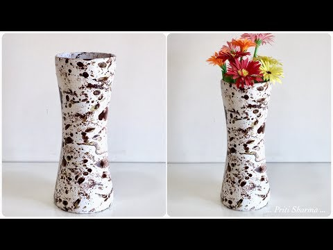 How To Make Flower Pot At Home / Flower vase -20 Out Of Paper Glass And Cement | Priti Sharma