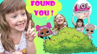 HIDE AND SEEK with LOL Surprise Dolls plus DIY Giant LOL Confetti Pop with Ava Isla and Olivia