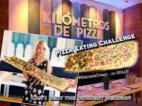 KiloMeter Pizza Eating Challenge | Record Attempt | Journey in Spain | RainaisCrazy