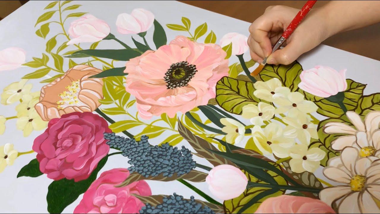 아크릴화. 꽃그림 그리기 / 그림액자 / 미리내 / 그림 알려주는 언니