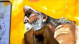 how to paint watercolor portrait of sadhu