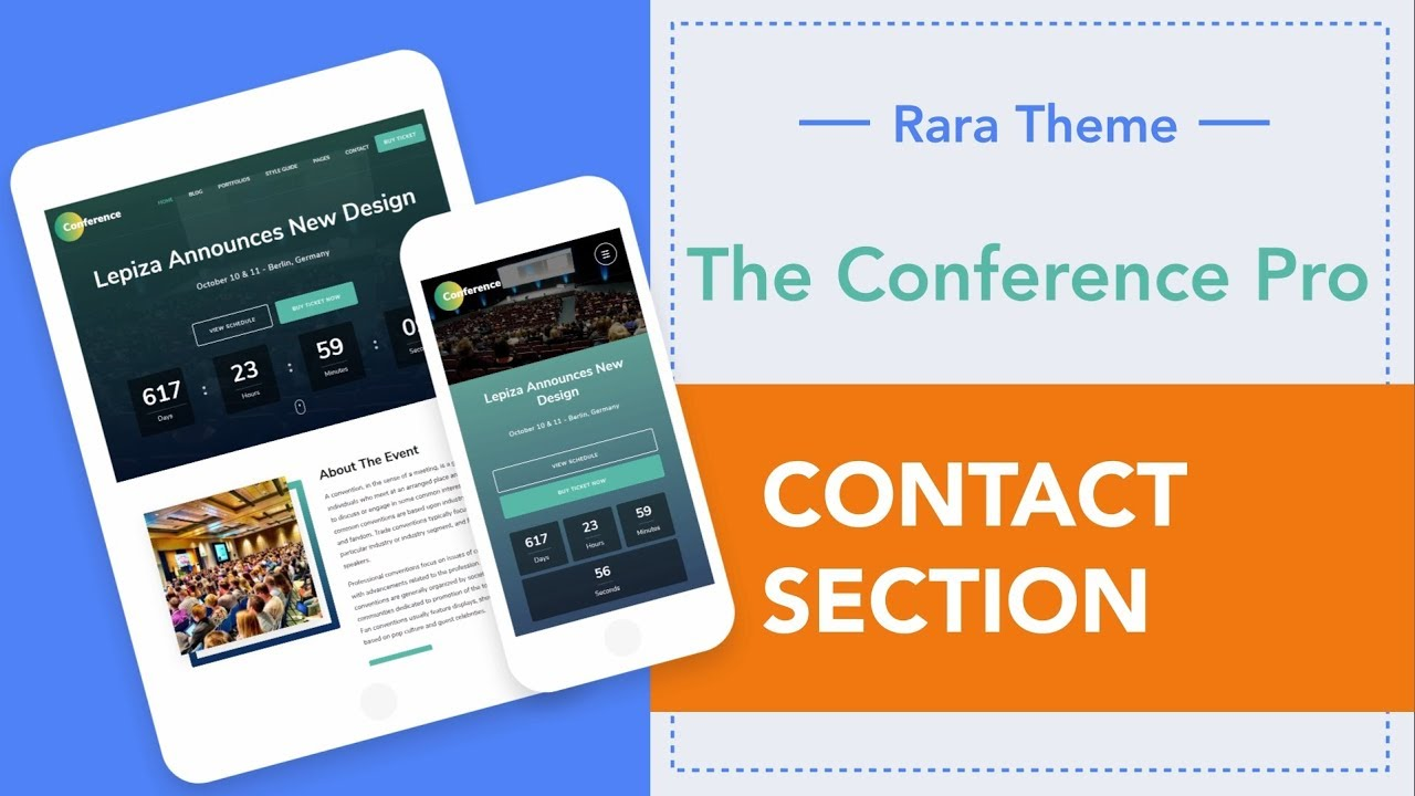 Step 19: How to add Contact Section   The Conference Pro WordPress Theme