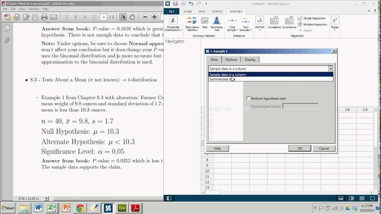 Hypothesis Tests About A Mean T Test With Minitab Express