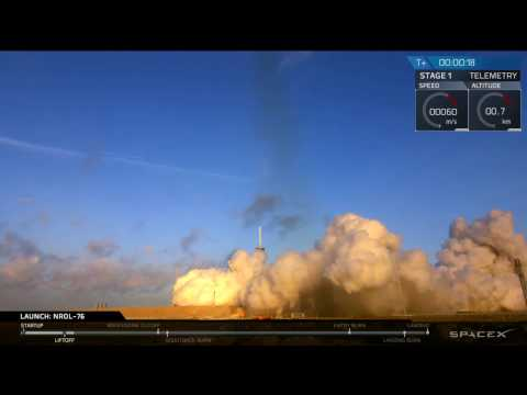 Falcon 9 Blasts off with Secret Government Satellite, 1st Stage Returns to Florida