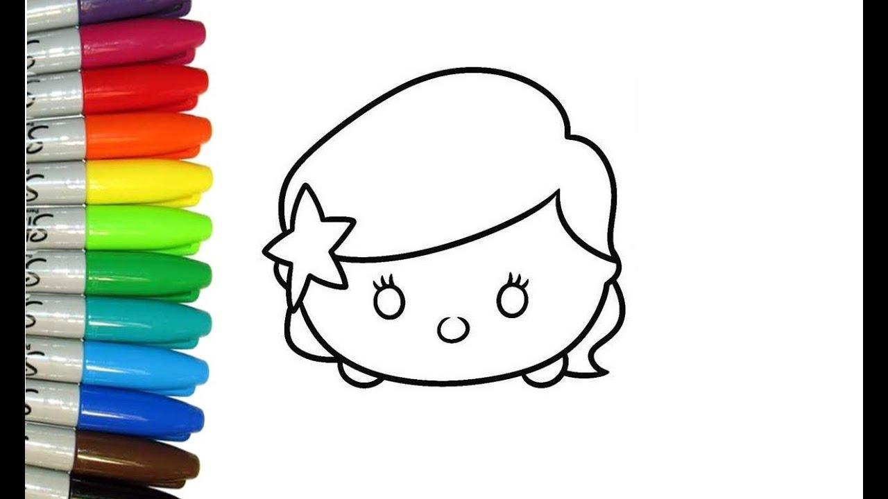 Dibujos Tsum Tsum Dibujos Para Colorear: Como Dibujar Y Pintar A Tsum Tsum De Ariel 2