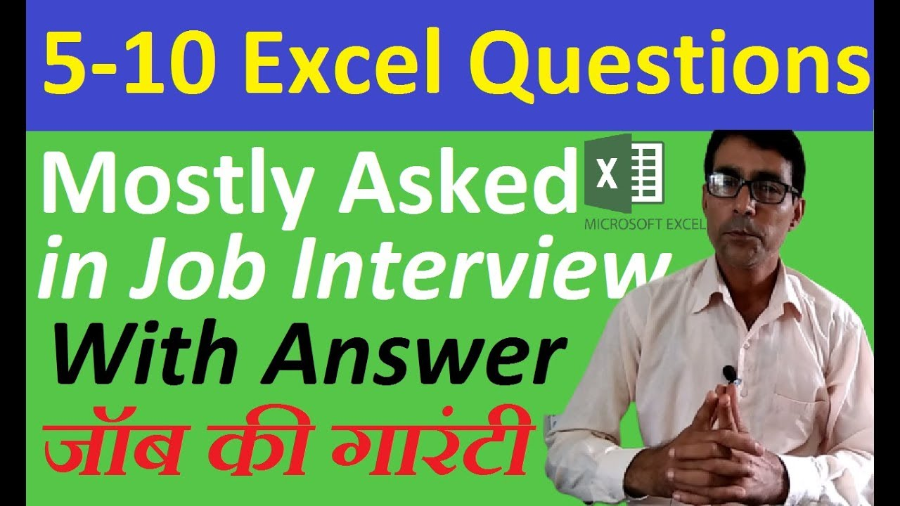 Download Most important Excel Questions Asked in Job Interviews in hindi