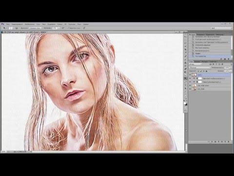 🔴 Фотошоп | Как нарисовать  портрет на холсте в фотошопе из фотографии .
