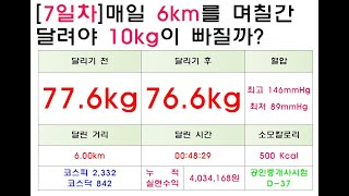 7일차)매일 6km 달리기(매일 소주1병 꽁보리밥 1그…