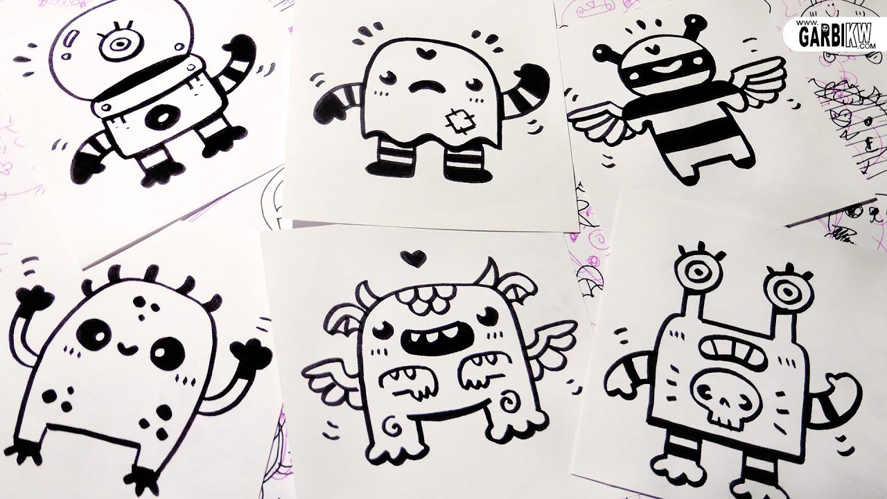 6 little monsters for your doodles hello cute doodles for Cute little doodles to draw