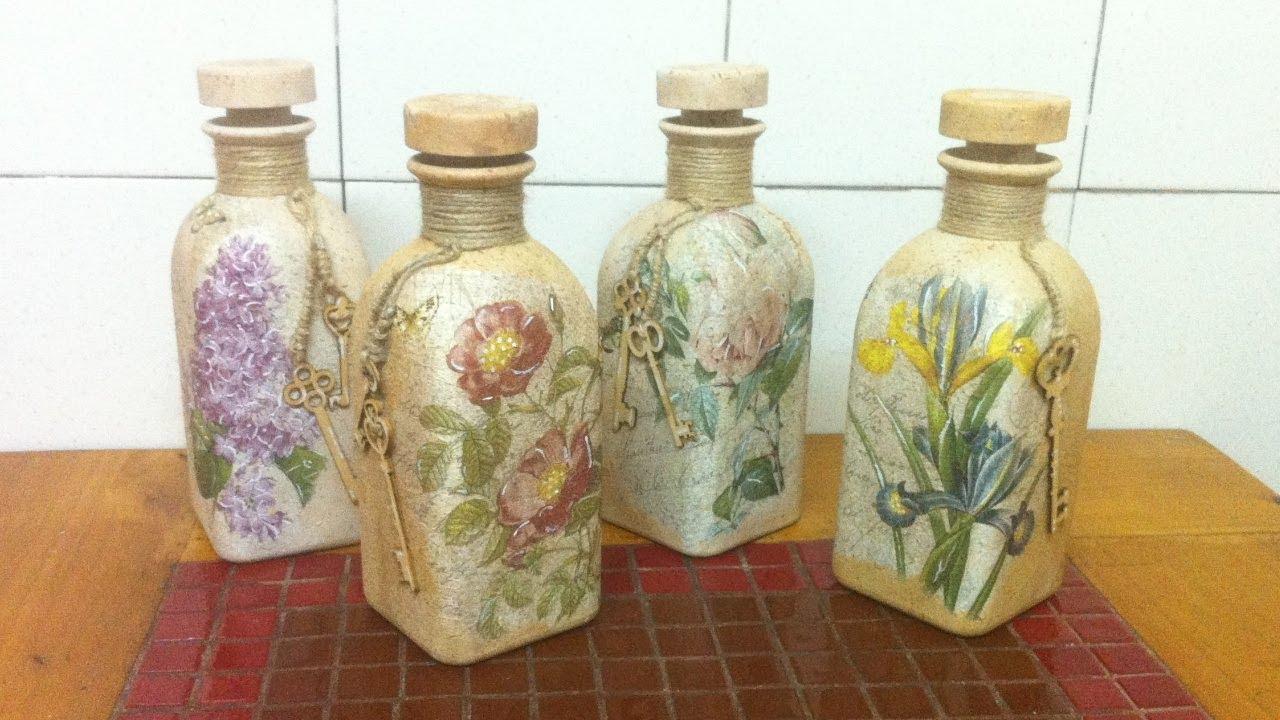 botella con decoupage estilo vintage youtube On botellas decoradas vintage