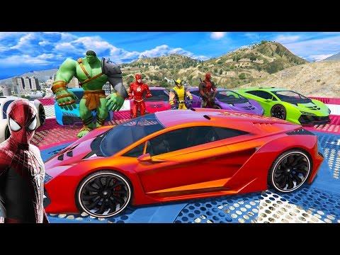 Tehlikeli Yarış Zentornolar Yarışıyor Örümcek Adam DeadPool Hulk Flash Wolverine Çizgi Film