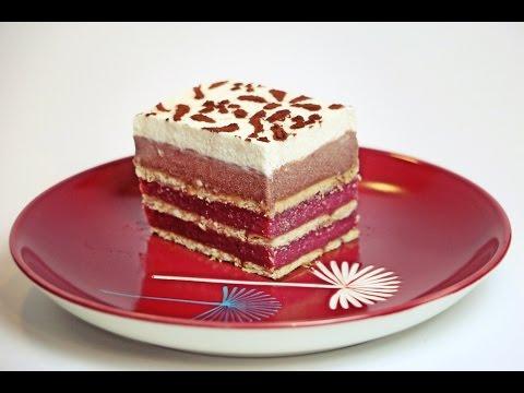 Kekskuchen ohne Backen mit Kirschen und Schokopuddingcreme - ohne Gelatine/ No bake cake