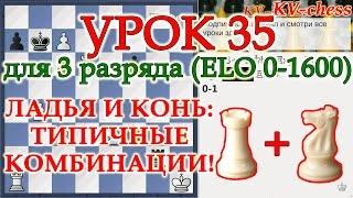 Типичные комбинации с ладьей и конем в шахматах - Урок 35 для 3 разряда.