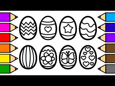 Colouring Easter Eggs and Colouring with Glitter, Drawing and Painting 💜(4K) Frog Painting Pages