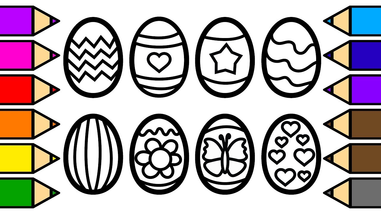 Colouring Easter Eggs and Colouring with Glitter, Drawing and ...
