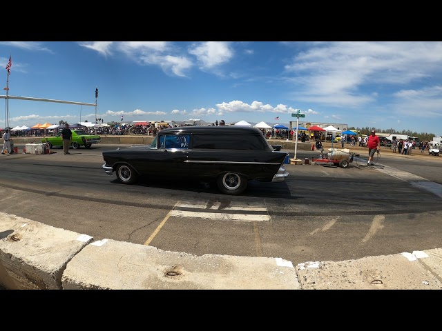 Eagle Field Runway Drags Stan's 57 Chevy Sedan Delivery goes ka-pow going into 2nd gear,