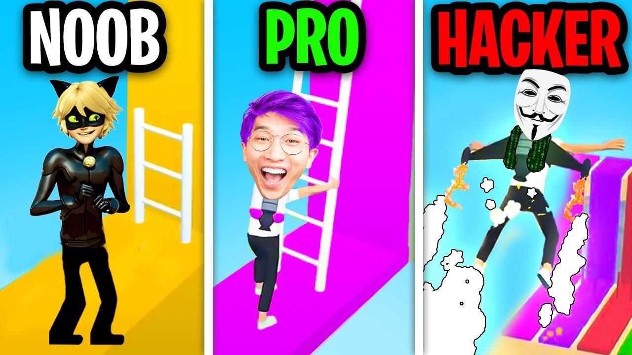 NOOB vs PRO vs HACKER In LADDER.IO! (ALL LEVELS!)