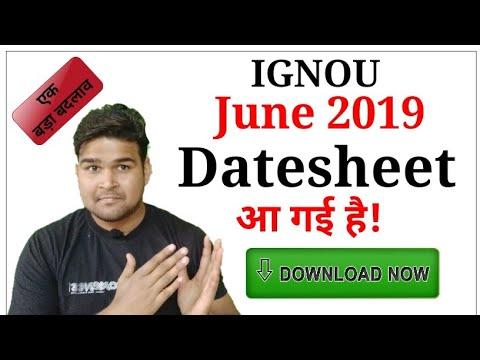 IGNOU June 2019 Datesheet Released | Download IGNOU June 2019 Datesheet |