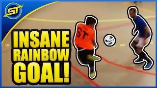 SkillTwins INSANE RAINBOW + NUTMEG Futsal Goal! ★