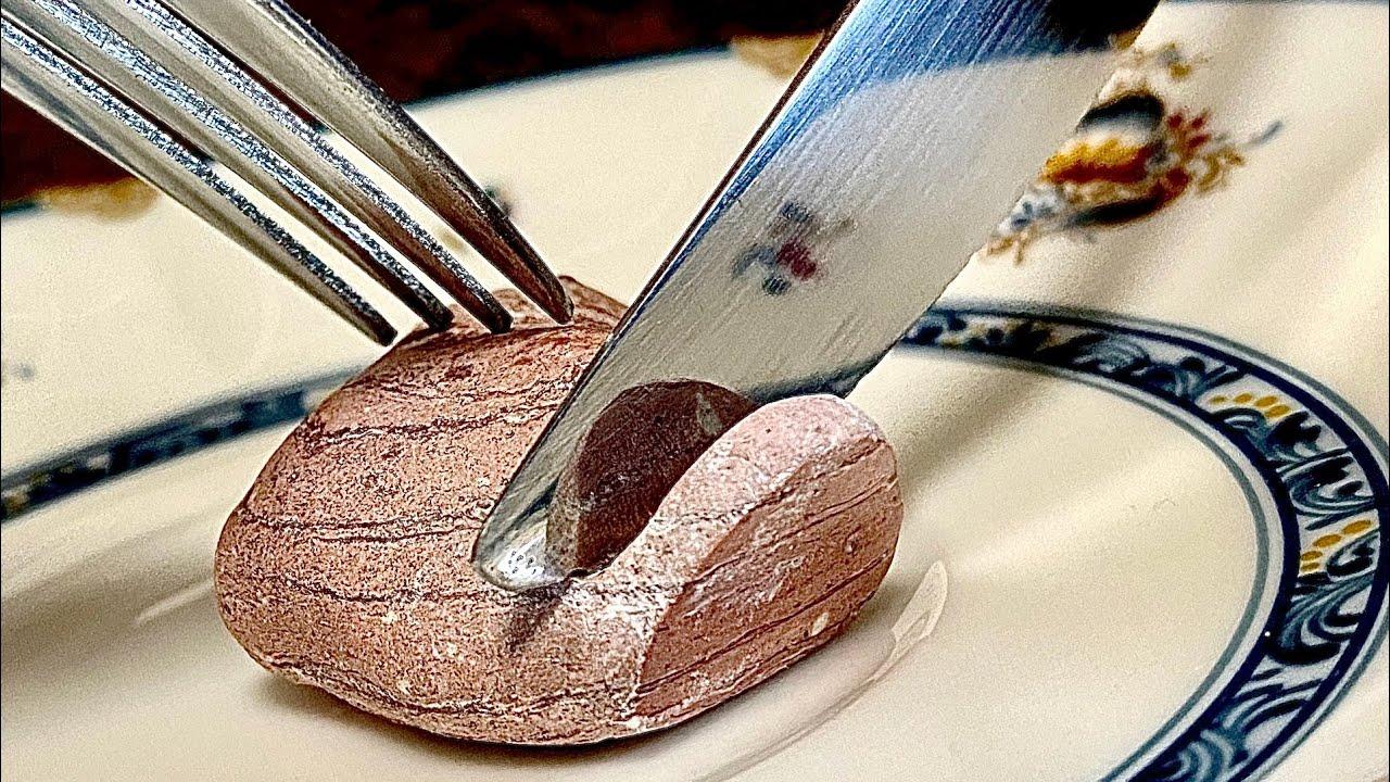 【石磨き】ナイフで石を切る方法 stone art ASMR