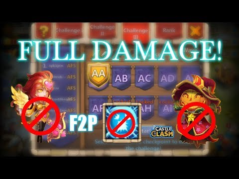 Castle Clash - HBM AA No Scatter And PD_ Using Full Damage Team!_F2P Account