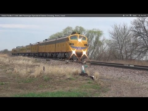 Union Pacific E Units with Passenger Special at Dakota Crossing, Ames, Iowa!