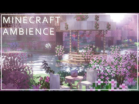 Relaxing Minecraft Ambience Pink Cherry Blossom Grove 10 Min Youtube