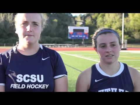Audrey Dolloff and Colleen Murphy Bentley post game interview