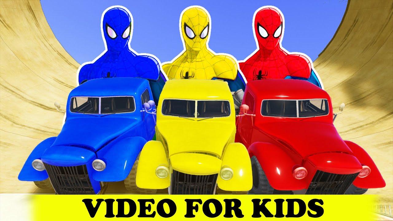 SPIDERMAN COLORS & TRASH CARS Epic Cartoon Fun Superhero w Nursery ...