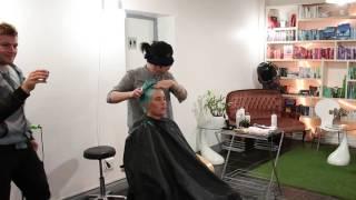 Blindfolded hair cut at Swordfern Hair Emporium short hair