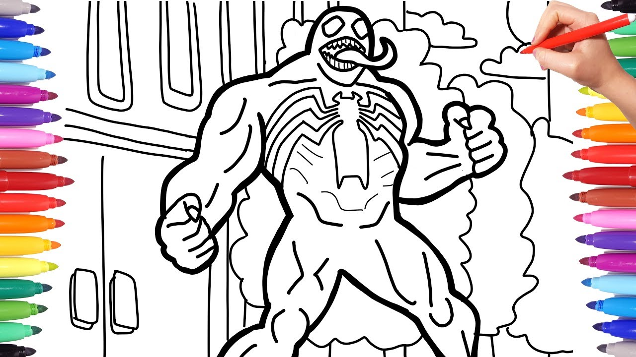 Marvel Venom Coloring Pages How To Draw Venom Venom Coloring And Drawing Youtube