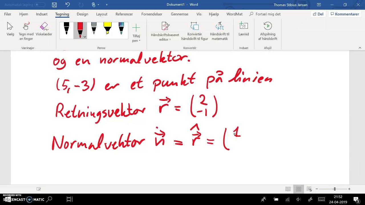 Uden hjælpemidler: ret linie - parameterfremstilling til ligning