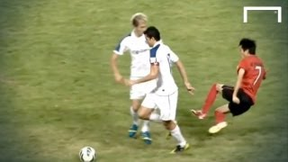 Outrageous challenge - footballer tackles the wrong player