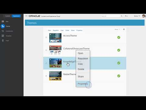 Managing Themes with Oracle Content and Experience Cloud
