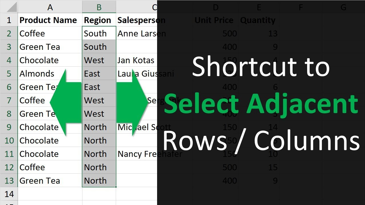 excel shortcut to select rows or columns with blanks cells by moving