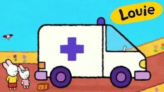 Ambulancia - Louie dibujame una Ambulancia | Dibujos animados para niños