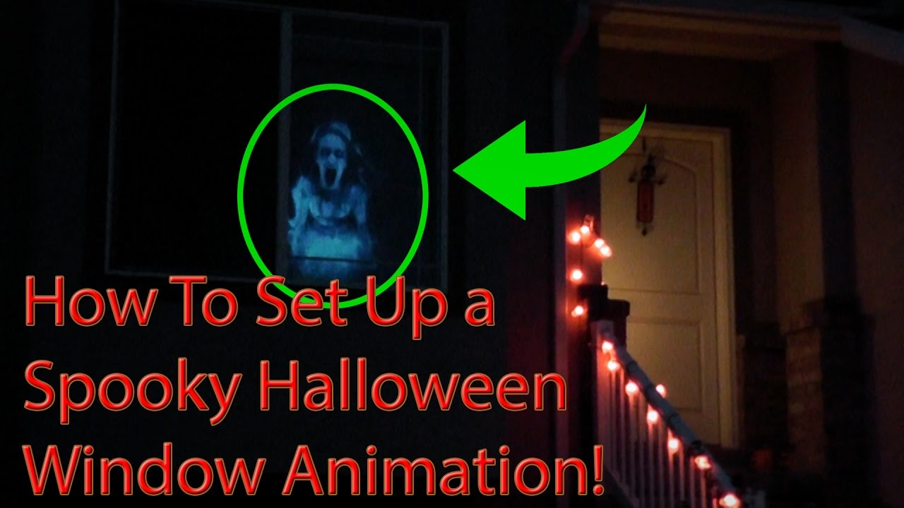 how to set up a halloween window projector animation