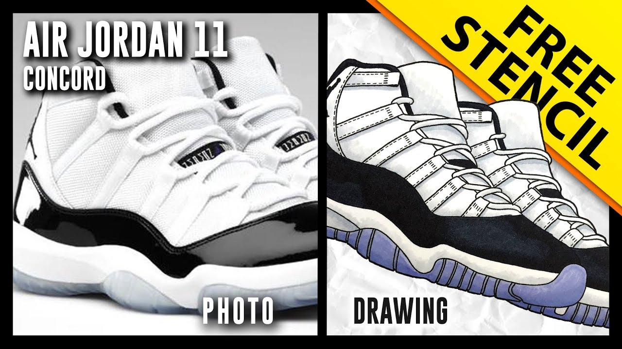02834362fcc Air Jordan 11 Concord - Sneaker Drawing w  FREE Stencil - YouTube