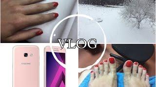 VLOG Обзор телефона Samsung A5 galaxy, Зима пришла, Собираюсь в лето, Маникюр и педикюр