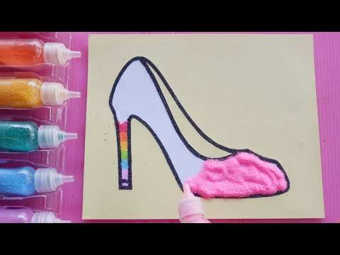 Colored Sand Painting | Cute High Heels |Learn Colors |Drawing & Coloring |Video for Kids |PINK GIRL
