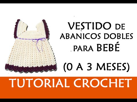 Patr n crochet vestido de abanicos dobles para bebe 0 3 - Traje de duende para nino ...