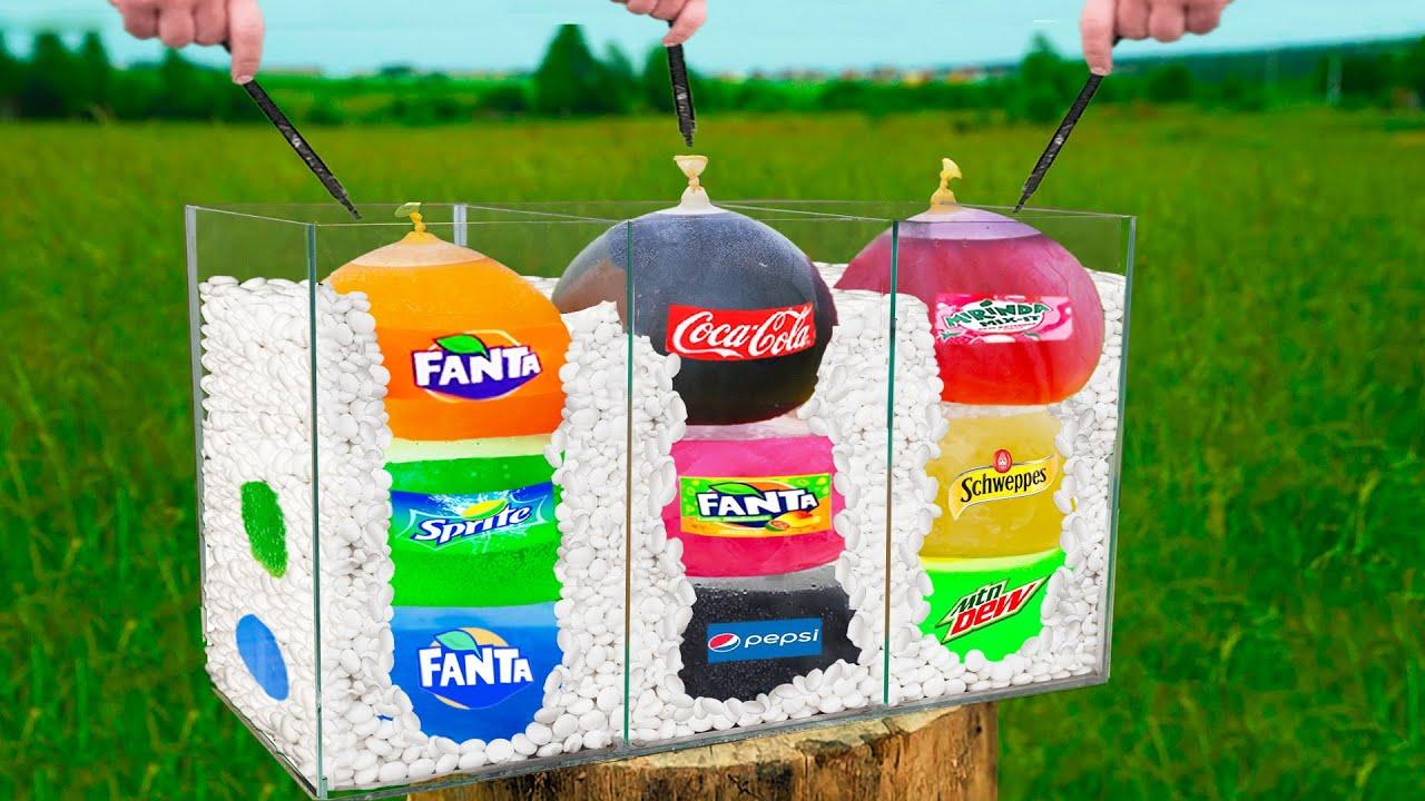 Experiment: Giant Balloons of Coca Cola & Fanta & Sprite & Mirinda & Mountain Dew VS Mentos