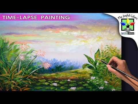 FLOWERING WATER LILIES IN THE POND ACRYLIC PAINTING TUTORIAL WITH SUNRISE | ART LESSON BEGINNERS