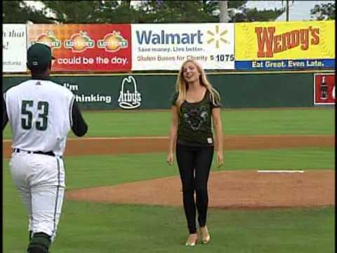 Jenna Lee Thomas throws first pitch at Augusta GreenJackets game ...