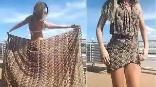 Sie bindet ein Tuch um ihre Hüfte - Als sie sich umdreht, bleibt dir die Luft weg!