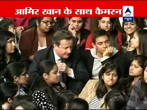 Amir Khan and David Cameron meet students in Delhi