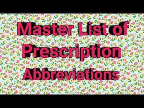 Master List Of Prescription Abbreviations in Hospital Pharmacy    Posology Studies    Pharma Guide