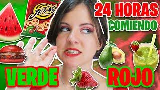 24 HORAS COMIENDO ROJO Y VERDE ft. Cristina y Oscarito * Sandía challenge | Reto Gigiis