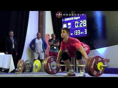 Edgars Zemrukis (94) - 130kg & 133kg Snatches @ 2016 European Junior Championships