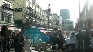 築地川第一駐車場付近より撮影した築地場外市場の様子(2008年12月29日)